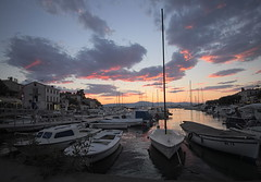 evening sky (koaxial) Tags: p6261289a koaxial croatia 2018 malinska marina hafen harbour sunset landscape clouds water sea meer boats boote silent quiet