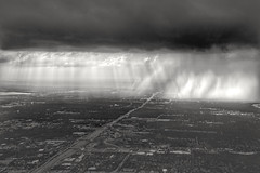 Rays and Rain over Fort Worth, TX 091518 5:27p (nffcnnr) Tags: bnw storm blackandwhite clouds cloudsareawesome dallas dfw fortworth aerialphotography rain crepuscularrays fortworthtx arlingtontx dallastx monchrome