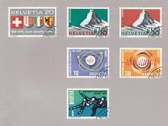 Schweizer Briefmarken (micky the pixel) Tags: briefmarke stamp ephemera schweiz suisse switzerland jubiläumsmarke werbemarke wappen eidgenossenschaft wallis neuchàtel genf berg mountain matterhorn cervin uit weltmeisterschaft eiskunstlauf davos