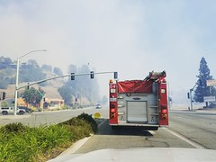 10 minutes after the Masonic Fire broke out in Redding... (rickele) Tags: redding oldus99 usroute99 casr273 highway273 wildfire brushfire masonicfire smoke emergencyresponse firetruck fireengine