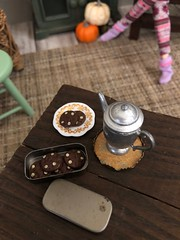 Autumn! Time for leggings, slouchy socks, big sweaters, pumpkin spice EVERYTHING and comfy quilts layered on the bed (JunqueDollBoutique) Tags: vintage pewter miniatures barbie playscale rement fall autumn diorama cookies tea coffee