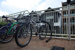 The Bike is Parked (HaskelR) Tags: bike cycling frame parked sport stationary vehicle wheel