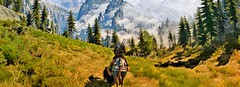 """""""Time spent among trees is never time wasted."""" (Xenolith3D) Tags: witcher3wildhunt thewitcher colorful gamescreenshot screenshot hd 4k pc nvidiaansel nvidia virtualphotography forest nature mist sky wood tree photomode gamephotography grass landscape kaermorhen art gameart digitalart mountain view field geraltofrivia wolf fantasy geralt road"""