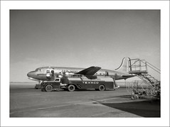 Vehicle Collection (2893) - Diamond T (Steve Given) Tags: workingvehicle automobile texaco tanker aircraft dc6 americanairlines fueling