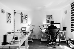 Man Sitting Infront of a Computer - Credit to https://www.semtrio.com/ (Semtrio) Tags: black white blackandwhite chair computers desks indoors job man monochrome office person room table working workspace