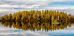 Fall Reflections (danielusescanon) Tags: alaska fall colors reflection reflectionslake sky clouds water lake