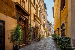 Bicycle - Via dei Coronari - Rome (Lorenzoclick) Tags: hdr roma rome street strada italy italia xt2 xf14mmf28 xmount fujifilm light bike bicicletta yellow sunny architecture artistic architettura tight beautiful bicycle