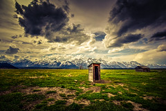The Outhouse (crowt59) Tags: outhouse jackson hole wyoming photomorphis texture lr lightroom crowt59 grand tetons mountains clouds nikon d810
