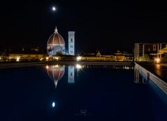 Moon Over Duomo (ernogy) Tags: ernogy ernogyphoto florence firenze italy italia reflection longexposure canon canon40mmpancake pancakelens duomo hotelgrandminerva