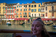 Stephanie enjoying the views from the water taxi in Venice Italy.