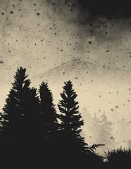 Black Winter (Stachmoon) Tags: gray dawn reshade screenshot video game digital art silhouette forest peak snow black winter mountain