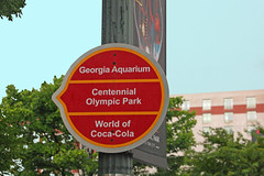 Attractions Sign, Centennial Olympic Park, Dowmtown Atlanta, Georgia (gg1electrice60) Tags: hiltongardeninn centennialolympicpark smallparknearthegeorgiaacquarium sign directionalsign touristattractions pole buildinginbackground trees shrubs sky bluesky nearacquarium nearhotel nearcentennialolympicpark nearbakerstreet downtown downtownatlanta fultoncounty atlanta georgia unitedstates usa us america nearolympicpark touristarea worldofcocacola circle circularsign techwoodatlanta 1996summerolympics