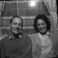 Lovely smiles (vintage ladies) Tags: blackandwhite vintage people photograph 60s female woman lady 60slady 60swoman 60sstyle man male smile smiling sitting cardigan portrait
