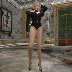 Frill Shoulder Leotard (FRONT) (livene) Tags: leotard sexy noir secondlife