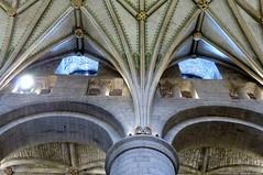 Tewkesbury Abbey (carolyngifford) Tags: tewkesburyabbey tewkesbury column arch vaulting gilding