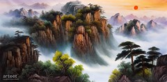 The Rising Sun, Myriads of Mountains, Art Painting / Oil Painting For Sale - Arteet™ (arteetgallery) Tags: arteet oil paintings canvas art artwork fine arts landscape canyon rock forest tree mountain stone valley park outdoor stream fall ravine summer spring natural scenery scenic wild sky falls lake rocks creek trees national grass outdoors ecology pond peaceful splash mountains stones reflection flowing flow season wilderness autumn clear rocky tranquil landscapes oriental brown green watercolor