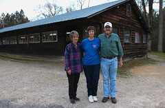Owners Jan Eley and Sandra Askew (left), and Allen Askew (right), pose in front of the restaurant. Jan Eley and Sandra Askew are sisters who work together at both of the restaurant's locations.