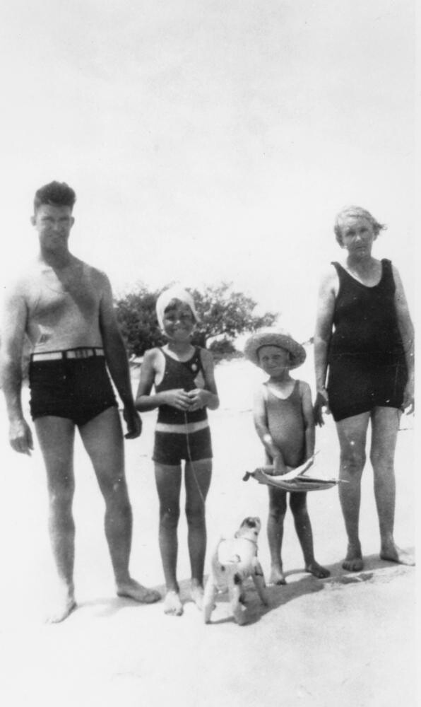 Day at the beach on Bribie Island, January 1935