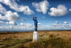 Top Of The World! (Missy Jussy) Tags: topoftheworld trevorkerr man male sky bluesky clouds highpoint grass moors moorland 14000ft saddleworth outdoor outside northwest england uk greatbritian rochdale denshaw 24mm ef24mmf28 canon5dmarkll canon5d canoneos5dmarkii canon
