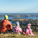 Family on the top fo Tahko hill in autumn