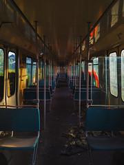 Inside of an old train (Noel1603) Tags: abandoned train inside graffiti seats old broken dusty evening