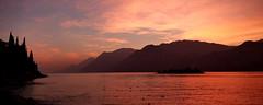 sunset on lake garda (GerhardQ) Tags: sunset lagodigarda gardasee lumixg9 microfourthird berge see wasser himmel wolken