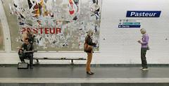 Waiting for the next Métro train (Monceau) Tags: métro station pasteur waiting women man guitarist bench
