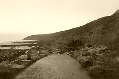 Beach at South Cliffs, Scarborough.   October 2018 (dave_attrill) Tags: southcliffs ramp rocks beach clevelandway seafront lowtide southbay scarborough northyorkshire yorkshire october 2018 sepia