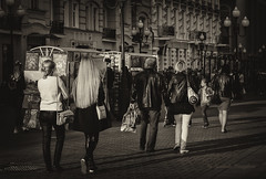 Walk on Old Arbat (Lyutik966) Tags: moscow capital oldarbat street people woman hair passer pedestrian walk girl building architecture bwartaward