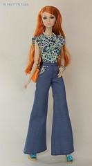 All-in-one flared pants Blue (YOKO*DOLLS) Tags: doll poppyparker sweetinswitzerland fashionroyalty handmade sewing denim