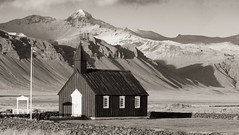 Bilður Nº 1 (efo) Tags: bw notfilm iceland snæfellsnes church black mountains