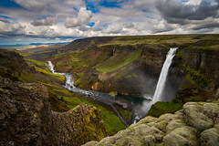 Enchanted Valley (Jim Patterson Photography) Tags: europe haifoss iceland summer beautiful clouds epic green high interior landscape large magnificent natural nature outdoors rocky rugged scenic storm striking stunning travel waterfalls jimpattersonphotographycom jim patterson photography valley