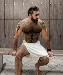 1393 (rrttrrtt555) Tags: hair hairy chest muscles beard arms armpit tattoo sitting bench towel lockerroom lockers band wristband watch shower workout gym masculine feet legs floor hands shoulders toes torso water wet