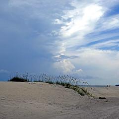 Tybee Island Beach, Georgia, USA (pom'.) Tags: panasonicdmctz101 july 2018 america northamerica usa unitedstatesofamerica georgia savannah tybeeisland tybeeislandbeach sky clouds 100 200 300 beach americanwayoflife