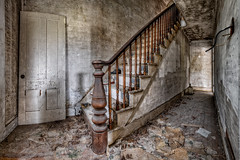 Farmhouse Stairs (Frank C. Grace (Trig Photography)) Tags: abandoned urbex urbanexploration decay crusty rusty hdr highdynamicrange photography farm farmhouse forgotten d850 nikon newhampshire frankcgrace trigphotography on1pics home house rustic stairs staircase banister door hall
