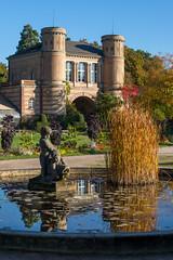 Orangerie Karlsruhe (KaAuenwasser83) Tags: orangeriekarlsruhe karlsruhe herbsttagwarmleuchtendfarbengebäudehimmel spiegelungwasserbrunnengräserpflanzenrotorangeblauheuteherbstseerosenneugartenpark