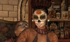 Alea halloween queen of night (Alea Lamont) Tags: ndmd ethnic skins black female skin women shapes sugar skull face tattoos lelutka catwa vista bento head genus laq mesh unorthodox hair arcade masoom hell bound