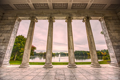 Inside the Temple to Music (iecharleton) Tags: templetomusic rogerwilliamspark pillars architecture greek fountail hdr water sky marble tile temple rhode island providence park lines