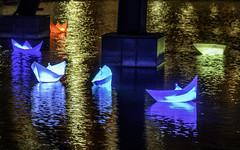 Colored Ships In A Golden Light - Berlin Leuchtet (dietmar-schwanitz) Tags: berlin germany deutschland pianosee potsdamerplatz berlinmitte berlintiergarten nachtaufnahme nightshot nacht night dunkelheit darkness licht light illumination beleuchtung schiff ship boot boat wasser water see lake spiegelung reflection farben colors colours nikond750 nikonafsnikkor24120mmf40ged lightroom lichterfest colorefex nikcollection dietmarschwanitz