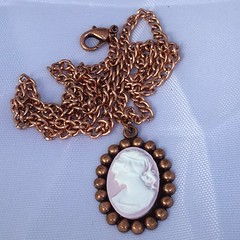 Pink Cameo on Copper Chain by SilverSkyByJanet (janetdmorris) Tags: etsy crafts shopping pink cameo copper chain by silverskybyjanet