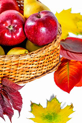 Basket with apples and autumn leaves (wuestenigel) Tags: autumn food basket apples background fruit yellow wicker red fall fallen leaf blatt noperson keineperson nature natur bright hell korbwaren korb obst health gesundheit thanksgiving daserntedankfest juicy saftig disjunct disjunkt lebensmittel color farbe desktop apple apfel season jahreszeit pasture weide nutrition ernährung summer sommer