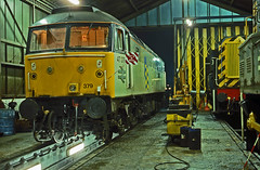 On 21January1991 47379 was an unusual visitor to Colchester Maintenance Depot after failing at Harwich Parkeston Quay. (mikul44171) Tags: 47379 colchester maintenance lights inspectionpit pit barrel night
