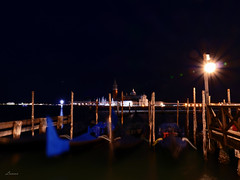 After a busy day (lamnn92) Tags: venice venezia gondola boat church sangiorgiomaggiore canal water bluehour longexposure nightphotography lights reflections colors post lighttrails rivadeglischiavoni nature architecture building travel fz1000