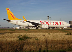 """TC-CCJ, Boeing 737-82R(WL), 35701/2496, Pegasus Airlines, """"Yaren"""", CDG/LFPG 2018-09-08, taxiway Alpha-Loop, heading to stand at Quebec ramp (Terminal T3). (alaindurandpatrick) Tags: 357012496 tcccj 737 738 737800 737nextgen boeing boeing737 boeing737800 boeing737nextgen jetliners airliners pc pgt sunturk pegasus pegasusairlines airlines cdg lfpg parisroissycdg airports aviationphotography"""