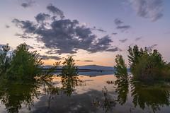 Reflejos en el pantano (Victor Aparicio Saez) Tags: reflejos agua atardecer alairelibre arboles aguasedosa espejo nubes horaazul horadorada pantano embalsedevalmayor montañas verde azul