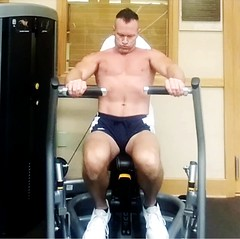 chest press machine (ddman_70) Tags: shirtless pecs abs muscle gym workout shortshorts