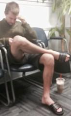 Guy displaying some nice Legs (LarryJay99 ) Tags: man men guy guys dude male studly manly dudes handsome legs flipflops toes barefoot feet barefuss barfuss hairylegs hairy hairyman manspreading facialhair crossedlegs shorts masculine goatee sexyguy virile leggy nicelegs hotguy masculinity