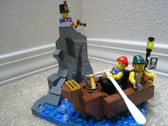 Ambush! (jgiese626) Tags: lego moc vignette rock outcropping spire cliff burp ambush trap ship rowboat dingy dory pirate raider marauder theif soldier redcoat infantry oars telescope sword cutlass flintlock lamp flag water ocean