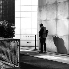 In front of the walls (pascalcolin1) Tags: paris homme man murs walls lumière light ombre shadow photoderue streetview urbanarte noiretblanc blackandwhite photopascalcolin 50mm canon50mm canon