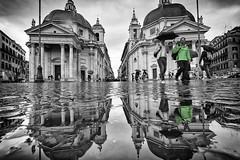The Twin Churches, Rome (dav fan) Tags: city incidental people cityscape town pedestrian street light building exterior old church square reflection water pond green rain clouds